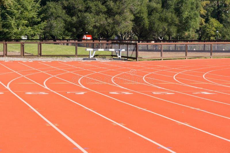 Athletics running track detail. Empty athletics running track detail royalty free stock image