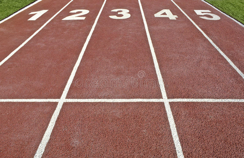 Athletics track. Five lanes in an athletics track stock image