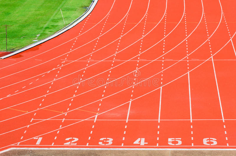 Athletics track. With white curve line royalty free stock photos