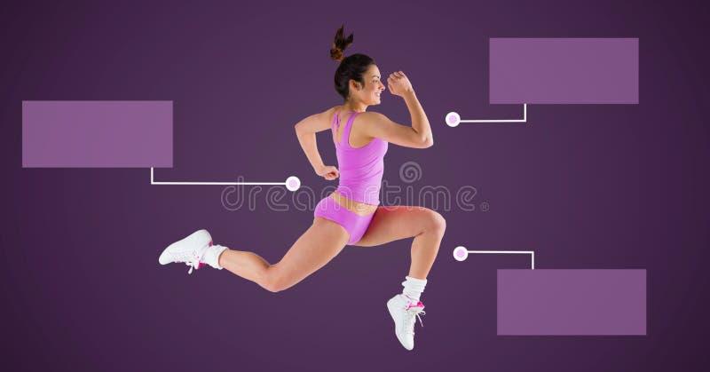 Athletische Übungsfrau, die mit leeren infographic Diagrammplatten läuft stockfotografie