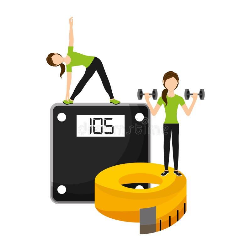 Athletische Frauen tragen mit Gewichtsskala zur Schau und nehmen das Messen auf lizenzfreie abbildung