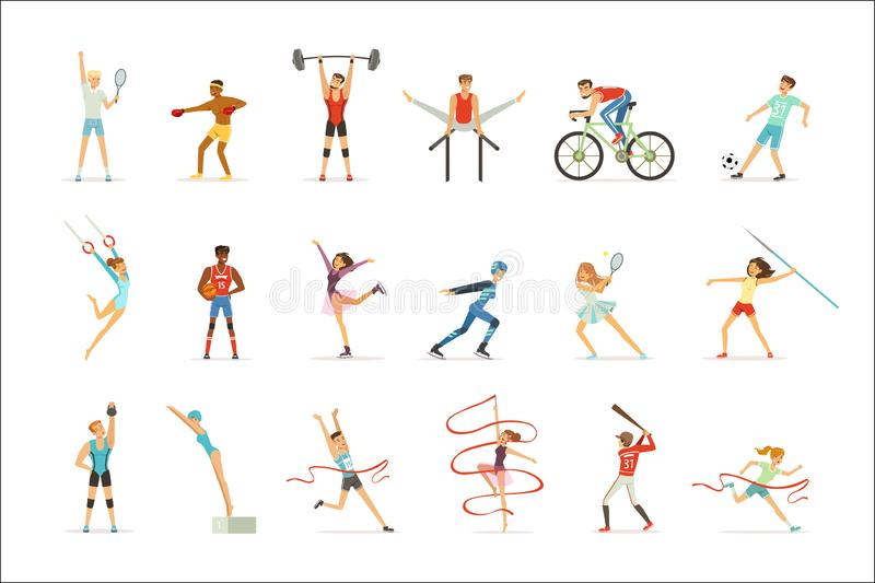 Athletische Leute, die verschiedene Arten des Sports, Leute in der Turnhalle, bunte Illustrationen Vektor der Sportausrüstung tun lizenzfreie abbildung