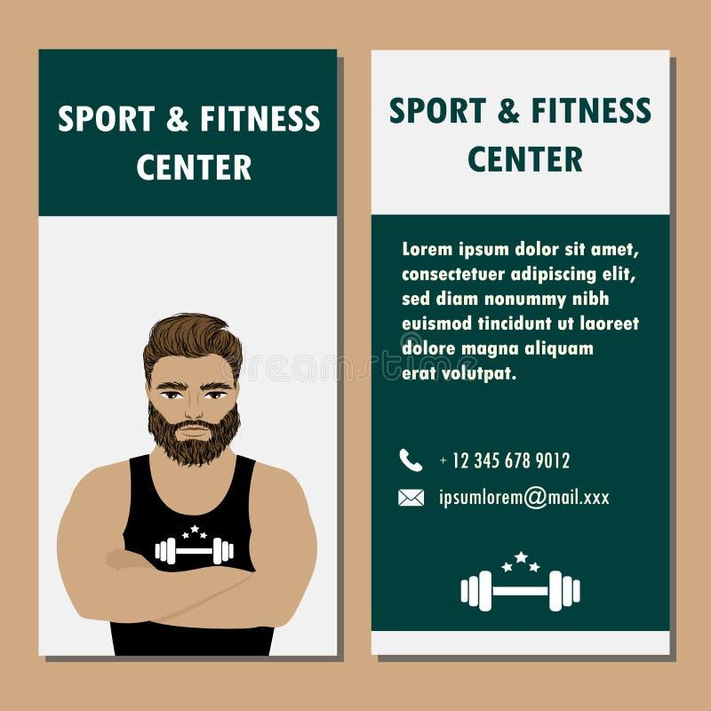 Athletische Verein- oder Turnhallenfahne Bodybuilder oder starker Mann stock abbildung