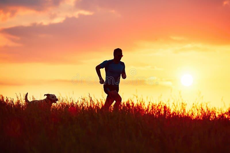Athletischer Läufer mit Hund bei dem Sonnenuntergang stockfotos