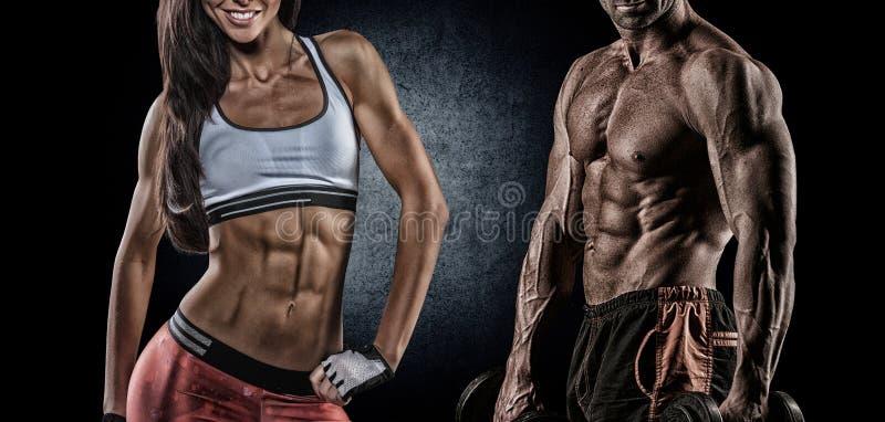 Athletischer Mann und Frau stockbild