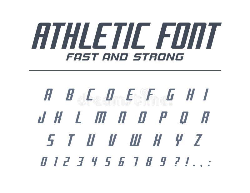 Athletischer schneller und starker Universalguß Sportlauf, futuristisch, Technologiealphabet Buchstaben, Zahlen für Logodesign vektor abbildung