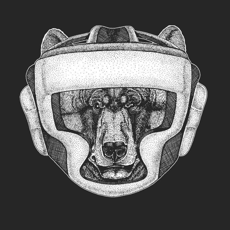Athletischer schwarzer Bär Verpackenmeister Druck für T-Shirt, Emblem, Logo chinesische KONGFU Kinder Vektorillustration mit Kämp lizenzfreie abbildung