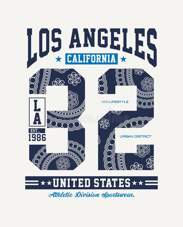 Athletischer Sport LA Kalifornien-Typografiedesignt-shirt Grafikvektor vektor abbildung