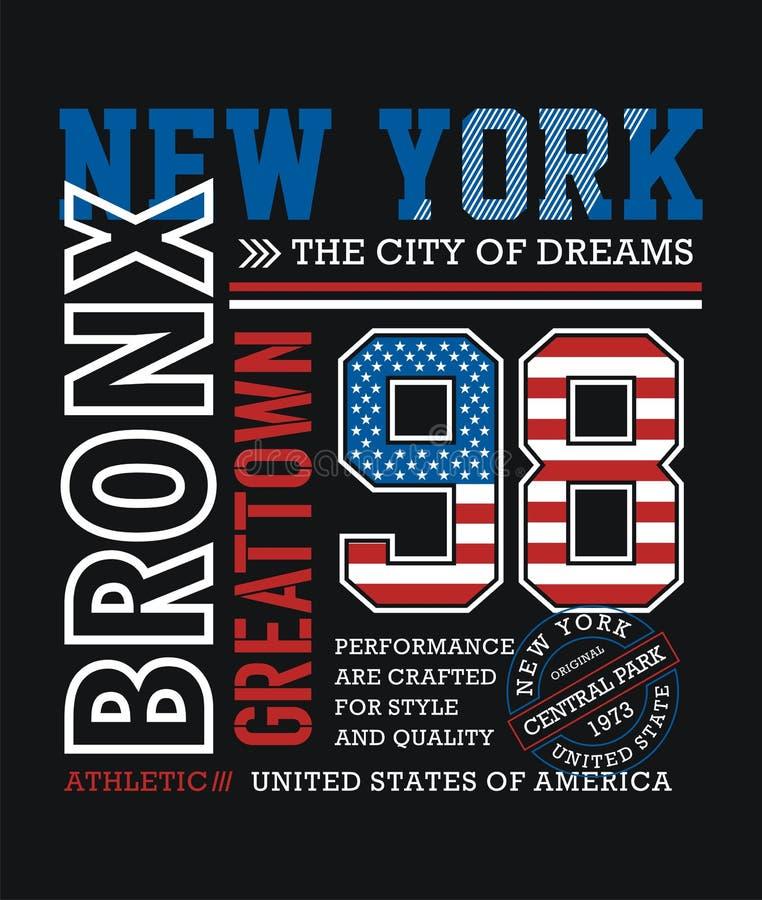 Athletisches Typografie-Design New York Bronx lizenzfreie abbildung