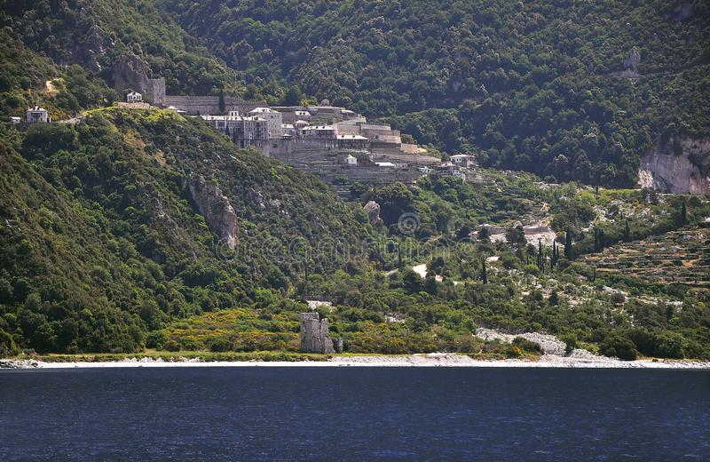 Athos - Holy Mountain in Greece with ancient monasteries royalty free stock images