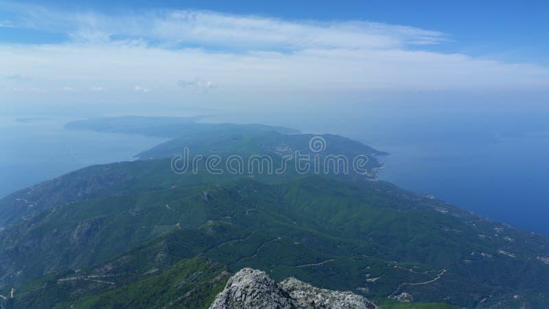 Athos peak view stock photography