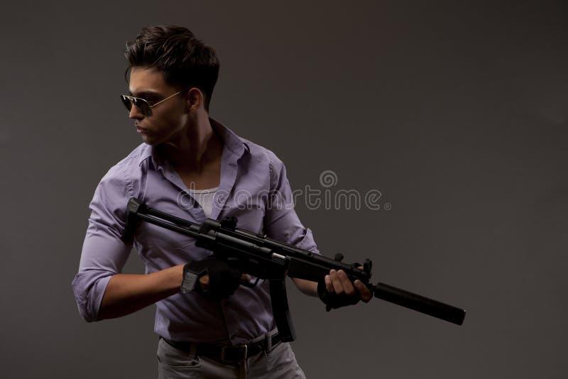 Atirador com rifle fotos de stock royalty free
