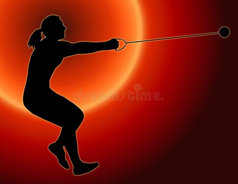 Atirador de martelo traseiro das senhoras do por do sol ilustração stock