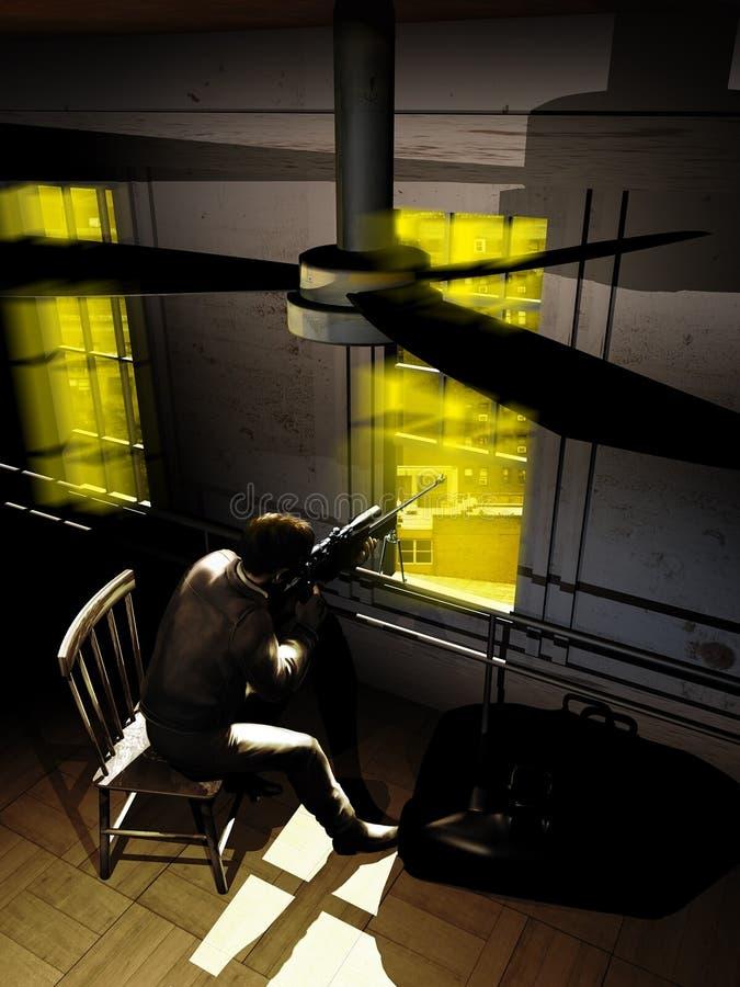 Atirador furtivo na janela ilustração do vetor
