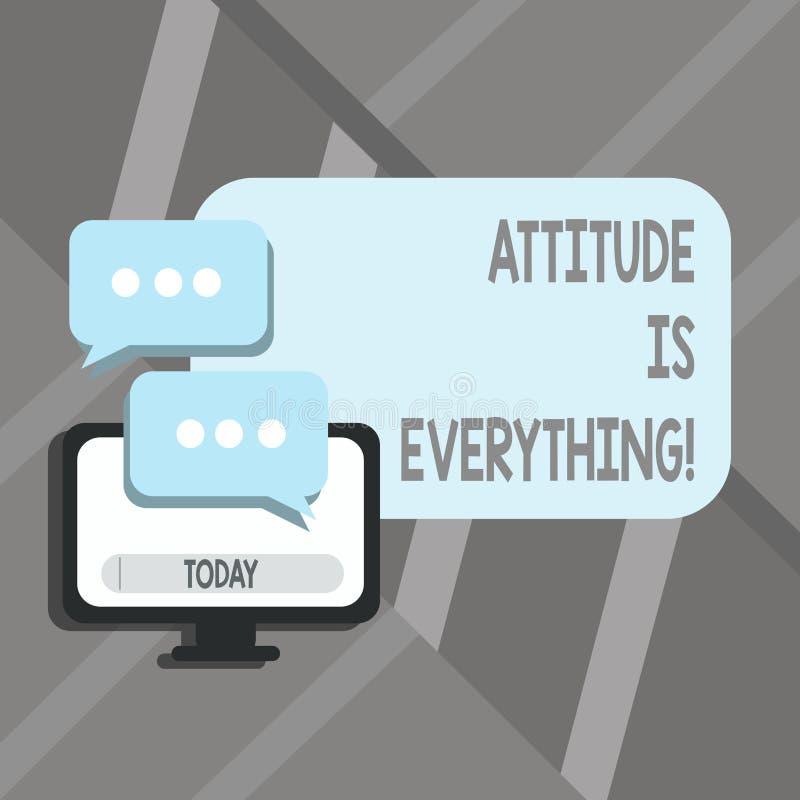 A atitude do texto da escrita da palavra é tudo Conceito do negócio para o comportamento pessoal da orientação da perspectiva da  ilustração do vetor