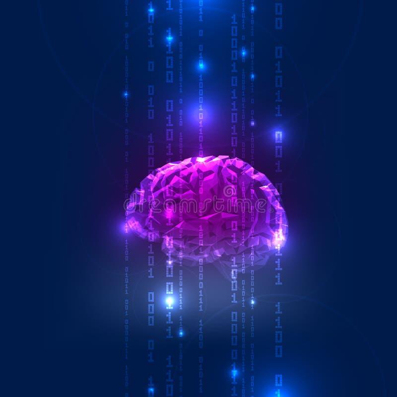 Atividade abstrata do cérebro humano com código binário ilustração stock
