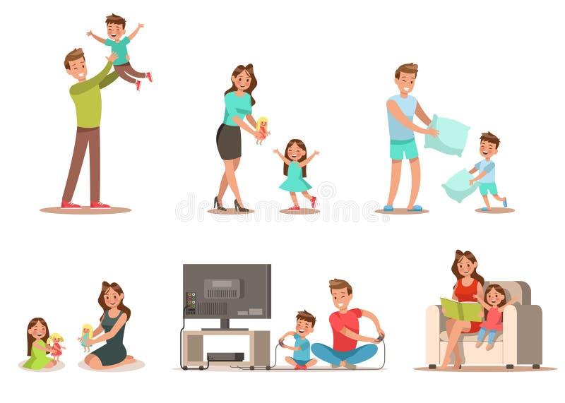 Atividade da família na casa Includes que joga o jogo, jogando a boneca, lendo um livro ilustração do vetor