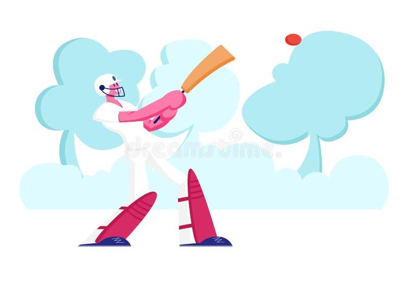 Atividade de críquete ao ar livre ou Torneio Juvenil no Colégio Jogador do Batsman do desportista Jovem Sorrindo ilustração do vetor