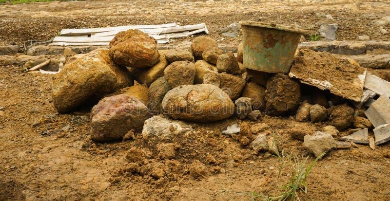 Atividade de escavação para a construção Bogor recolhido foto Indonésia da construção imagem de stock