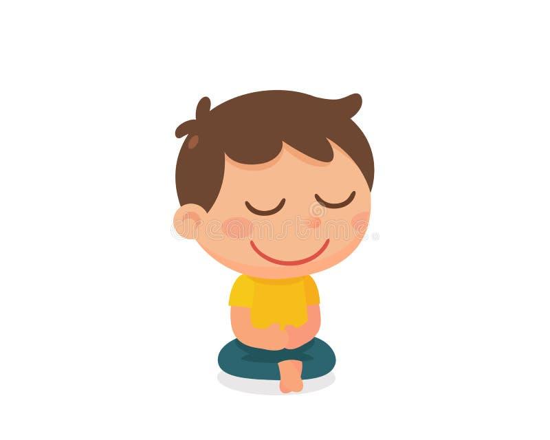 A atividade de uma criança meditation Projeto de caráter liso ilustração stock