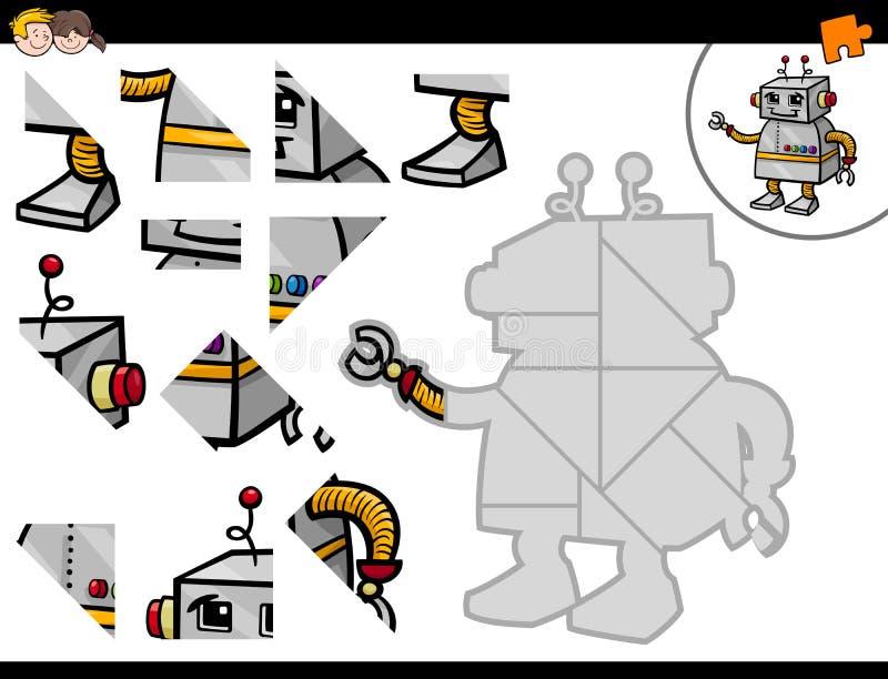 Atividade do enigma de serra de vaivém com robô ilustração stock