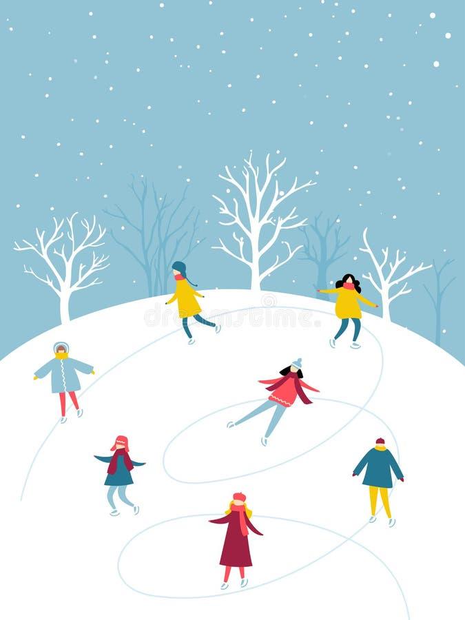 A atividade do inverno, grupo dos povos está patinando na pista de gelo exterior Ilustração lisa do divertimento dos feriados ilustração do vetor