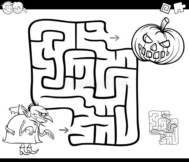 Atividade do labirinto de Dia das Bruxas para colorir ilustração do vetor