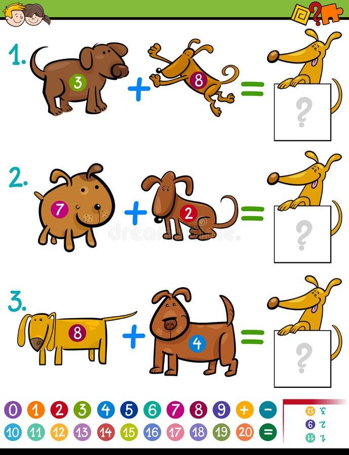Atividade educacional da adição para crianças ilustração do vetor