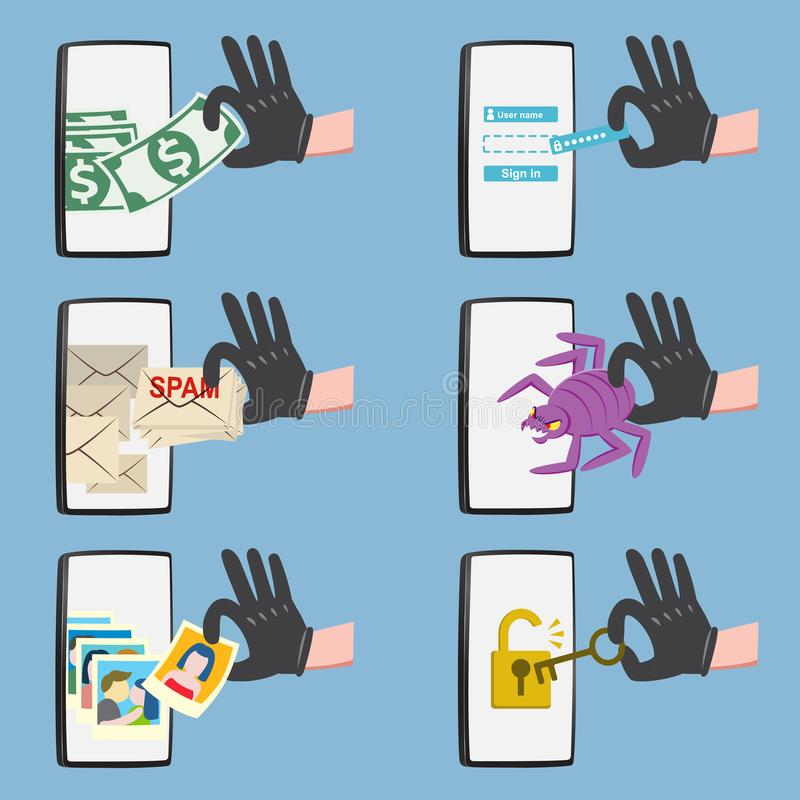 Atividade em linha do hacker no smartphone ilustração stock