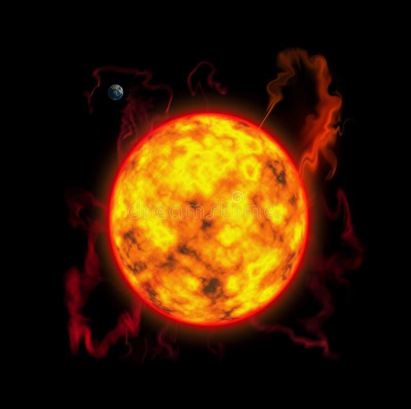 A atividade ensolarada, tempestade ensolarada, flashes, um planeta é terra ilustração royalty free