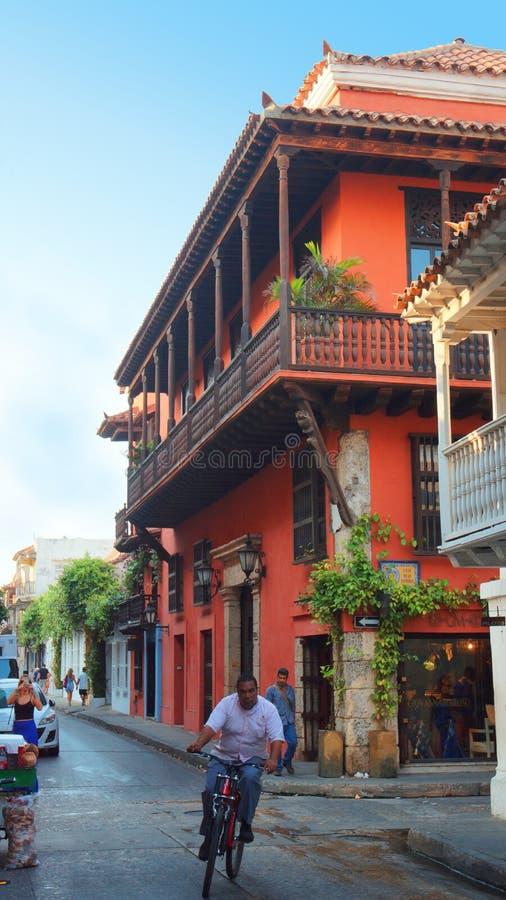 Atividade no centro histórico da cidade de porto de Cartagena foto de stock