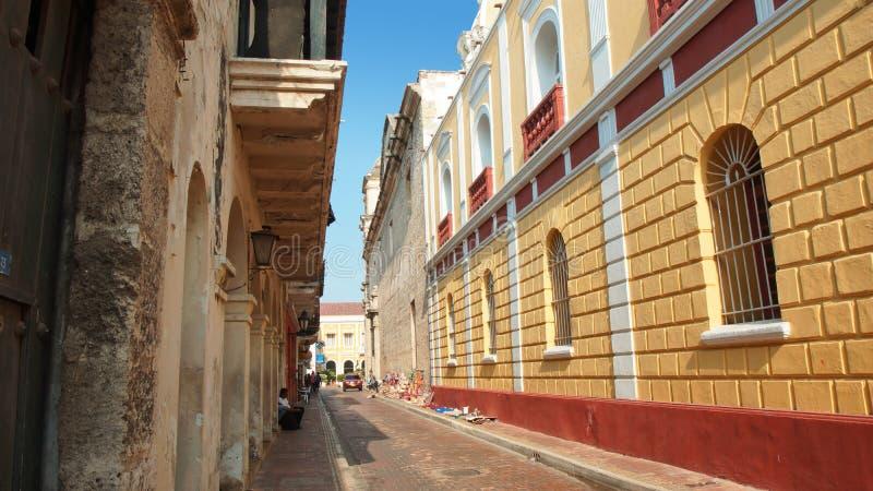 Atividade no centro histórico da cidade de porto de Cartagena imagem de stock