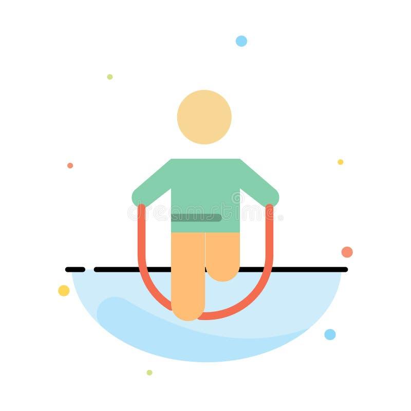 Atividade, salto, saltando, corda, molde liso abstrato de salto do ícone da cor ilustração royalty free