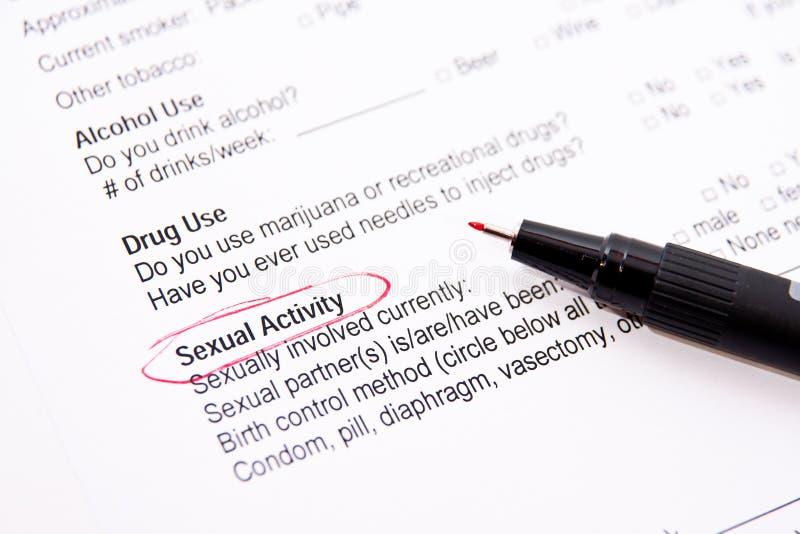 Atividade sexual - formulário médico fotos de stock royalty free