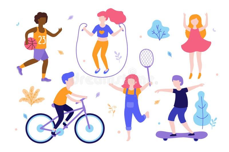 Atividades das crianças Grupo de crianças que fazem esportes, montando a bicicleta, jogando o basquetebol, movimentando-se, salto ilustração do vetor