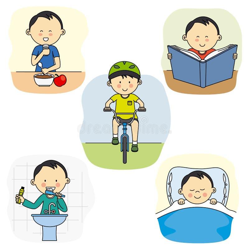 Atividades de um menino ilustração royalty free