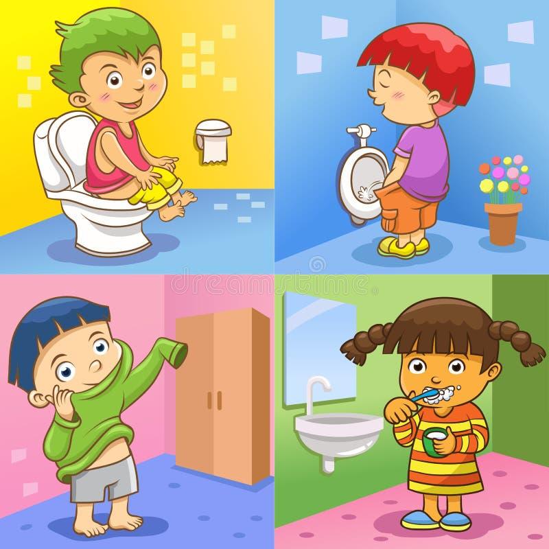 Atividades diárias da criança ilustração royalty free