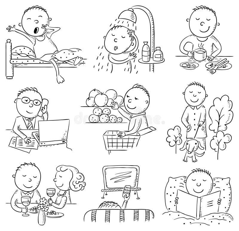Atividades diárias do homem dos desenhos animados ilustração do vetor