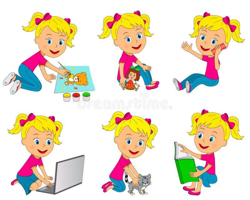 Atividades diferentes da menina ilustração royalty free