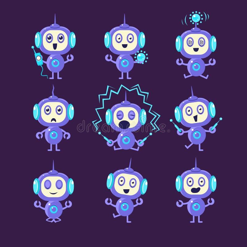 Atividades diferentes do robô ajustadas ilustração royalty free