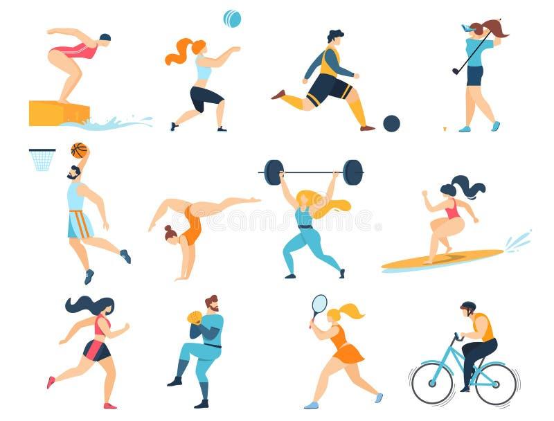 Atividades do esporte profissional Desportistas das mulheres dos homens ilustração do vetor