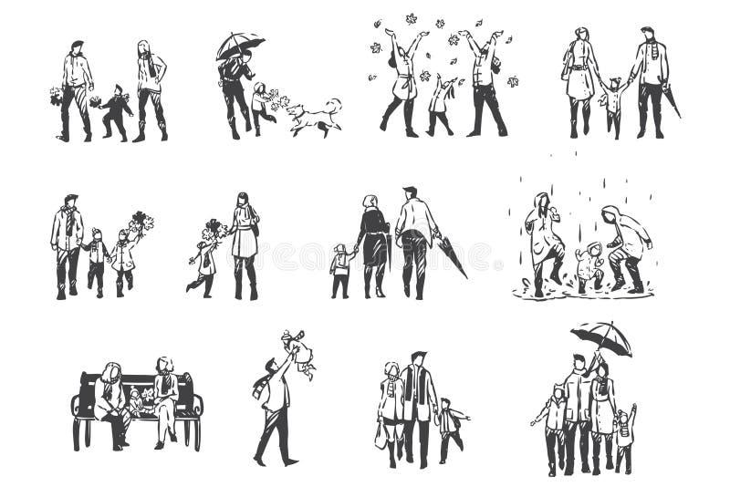 Atividades do outono, pessoas em esboço conceitual de roupas da época de dêmpera Vetor isolado desenhado à mão ilustração do vetor