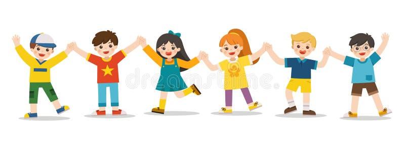 Atividades do ` s das crian?as Crian?as felizes que saltam junto no fundo Os meninos e as meninas est?o jogando junto felizmente  ilustração royalty free