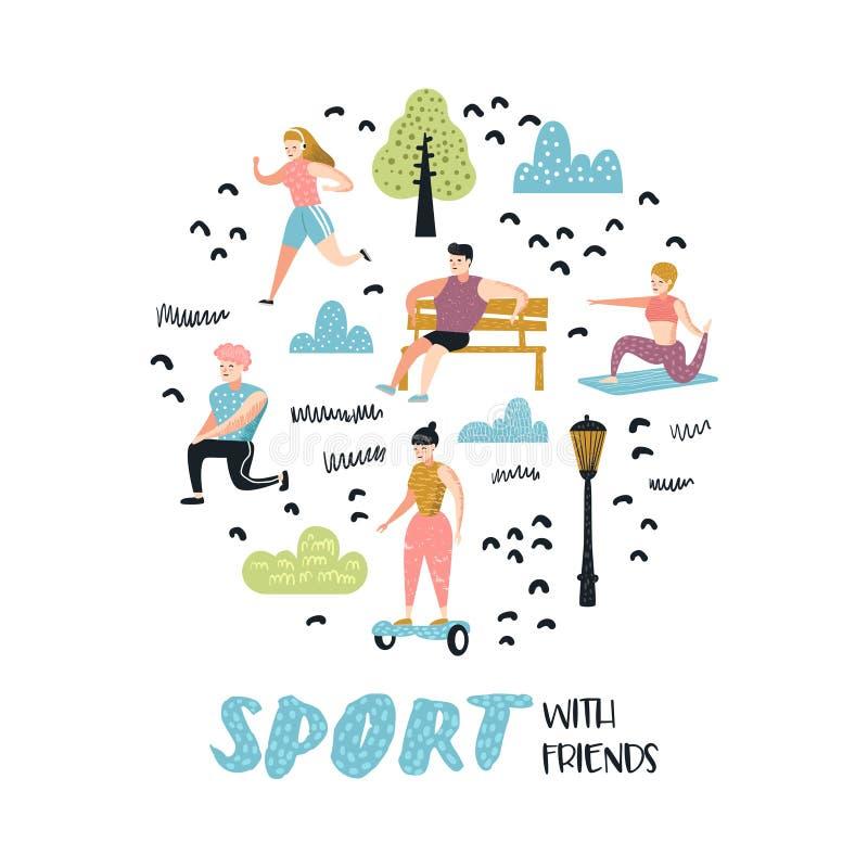 Atividades dos esportes exteriores do verão Povos ativos na garatuja do parque Corrida, ioga, rolo, aptidão Exercício dos caráter ilustração do vetor