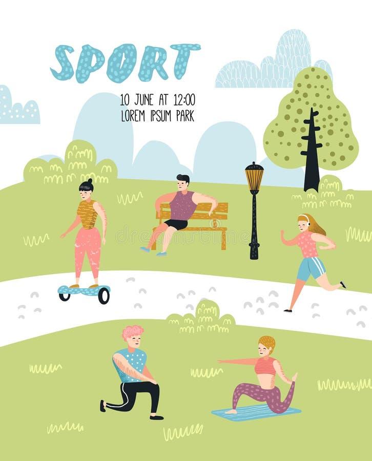 Atividades dos esportes exteriores do verão Povos ativos no cartaz do parque, bandeira Corrida, ioga, rolo, aptidão workout ilustração royalty free