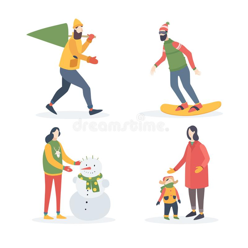 Atividades exteriores de feriados de inverno O homem novo leva a árvore de Natal, mulher com criança, menina esculpe o boneco de  ilustração royalty free