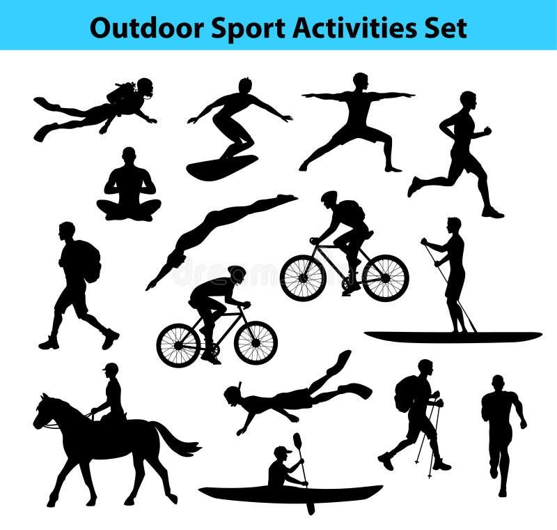 Atividades exteriores do esporte do treinamento Silhueta masculina ilustração stock