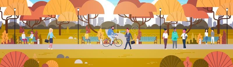 Atividades exteriores do parque, povos que relaxam na bicicleta de passeio da equitação da natureza e bandeira horizontal de comu ilustração royalty free