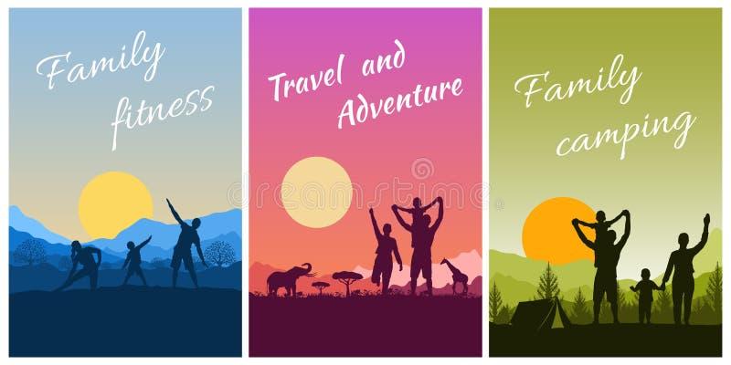 Atividades familiares no exterior, viagens e acampamentos Conjunto de cartões postais com paisagem, pais e filhos em férias na na ilustração stock