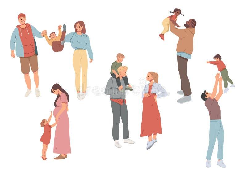 Atividades recreacionais do ar livre da família Mãe, pai e crianças andando junto ilustração do vetor
